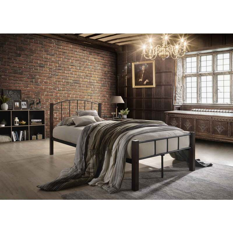 Luna King Single Metal Bed Frame with Solid Rubberwood Pole in ...