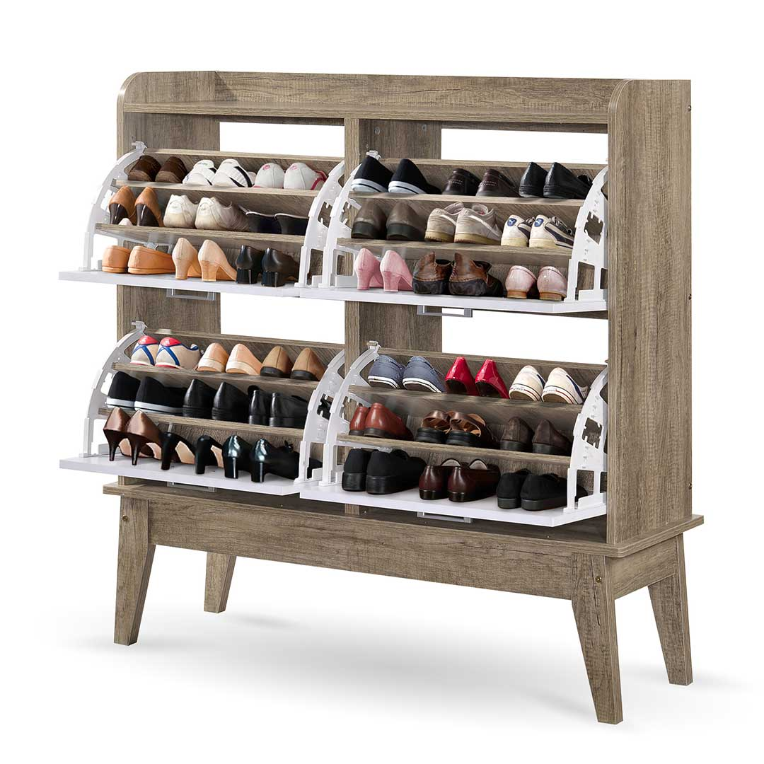 Wondrous Sonja Large Shoe Cabinet With 4 Components Drawer Storage In Oak And White Download Free Architecture Designs Parabritishbridgeorg