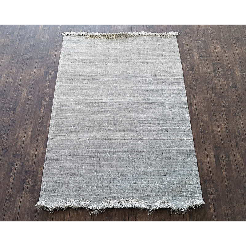 Viscose Area Rug W Fringe In Blacksilver 240x340cm Buy Rugs 218432