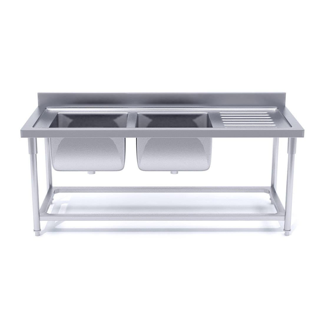 Soga Commercial Kitchen Double Sink Work Bench Stainless