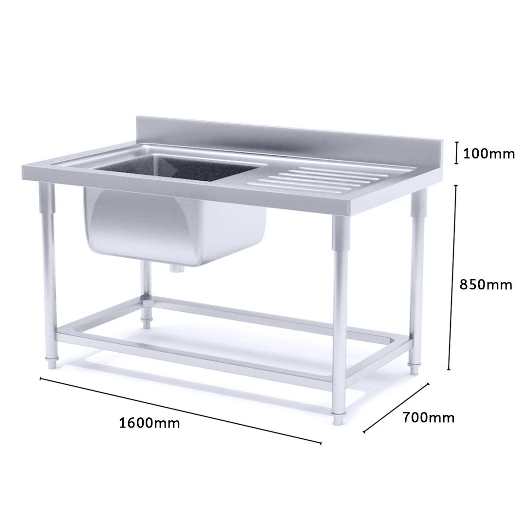 Soga Commercial Kitchen Sink Work Bench Stainless Steel