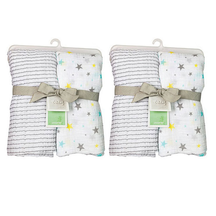 4PC Playette Muslin Swaddle Blanket Throw Bed Blanket Quilt Baby ... d1c1dfdb6