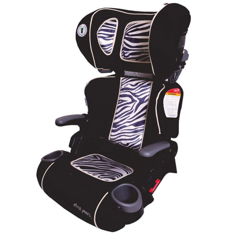 First Years Racing Foldable Booster Car Seat 4yr Toddler Children Kids Zebra