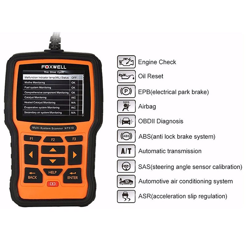 Foxwell Nt510 Obd2 Scan Tool For Holden Abs Srs Oil Service Reset - Open Box