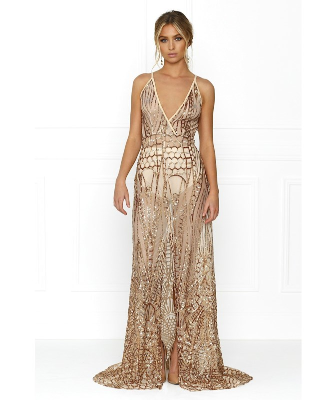 Honey Couture Siena Rose Gold Sheer Sequin with Split Evening Gown ...