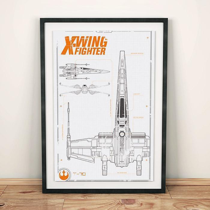 Star wars t 70 x wing fighter blueprint poster 915 x 61cm buy h m s remaining malvernweather Image collections