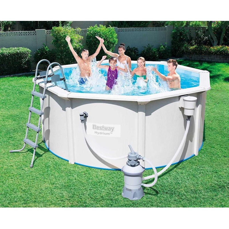 Bestway Hydrium Oval Strong Steel Wall Above Ground Swimming Pool With Sand Filter 16 4 39 X 12 39 X