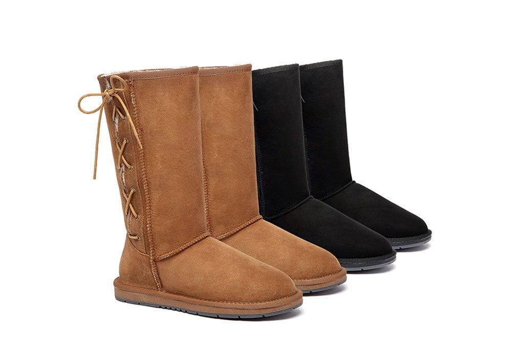 3a450379932 UGG Boots Australia Premium Double Face Sheepskin Tall Side Lace Up,Water  Resistant #15983