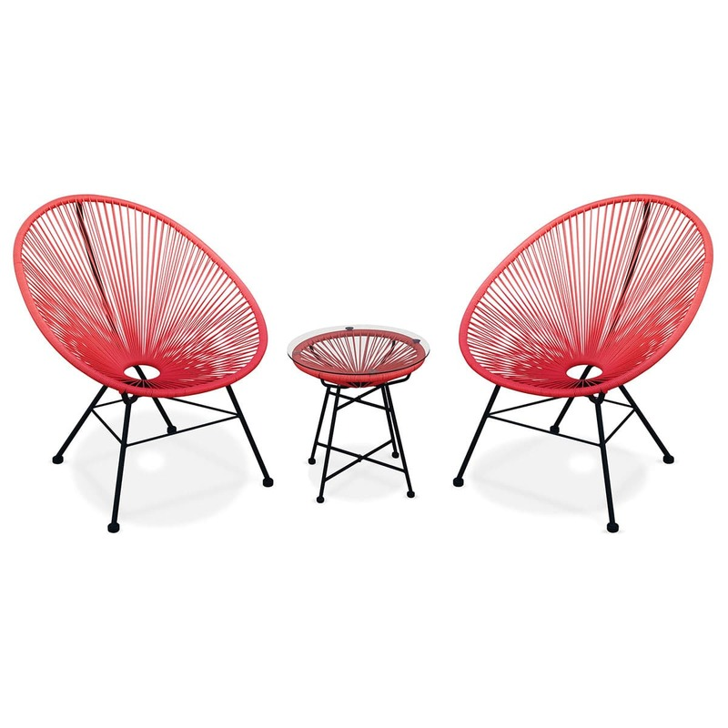 ACAPULCO 2x Egg designer string chairs with side table | Exists in 4 COLOURS