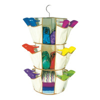 HANGING CAROUSEL ORGANISER Smart Shoe Organizer 3 Shelves 24 Pockets Foldable