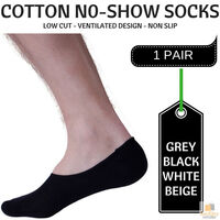 1x NO SHOW COTTON SOCKS Non Slip Heel Grip Low Cut Invisible Footlet Seamless