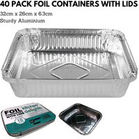 40x ALUMINIUM FOIL CONTAINERS WITH LIDS Large Tray BBQ Roasting Dish Takeaway 32cm*26cm*6.3cm
