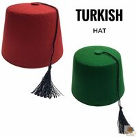 d44ea1293 TURKISH HAT Red Green Fez Tarboosh Dress Up Costume Party Moroccan New