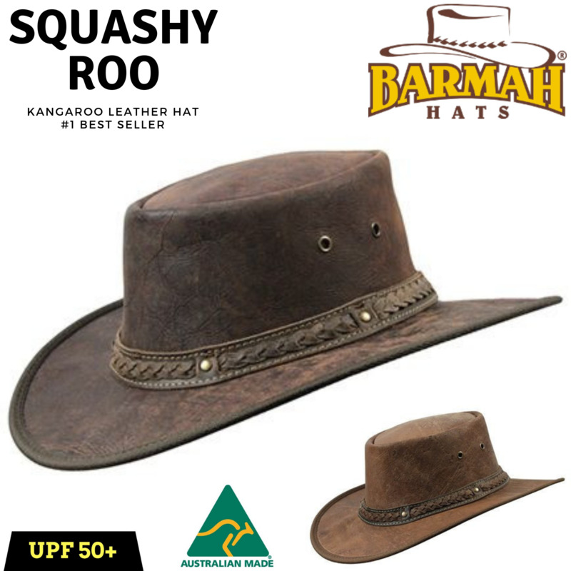 52d43b16 BARMAH Squashy Roo Kangaroo Leather Hat Crackle Brim Foldable Outback | Buy  Outdoor Headwear - 765638