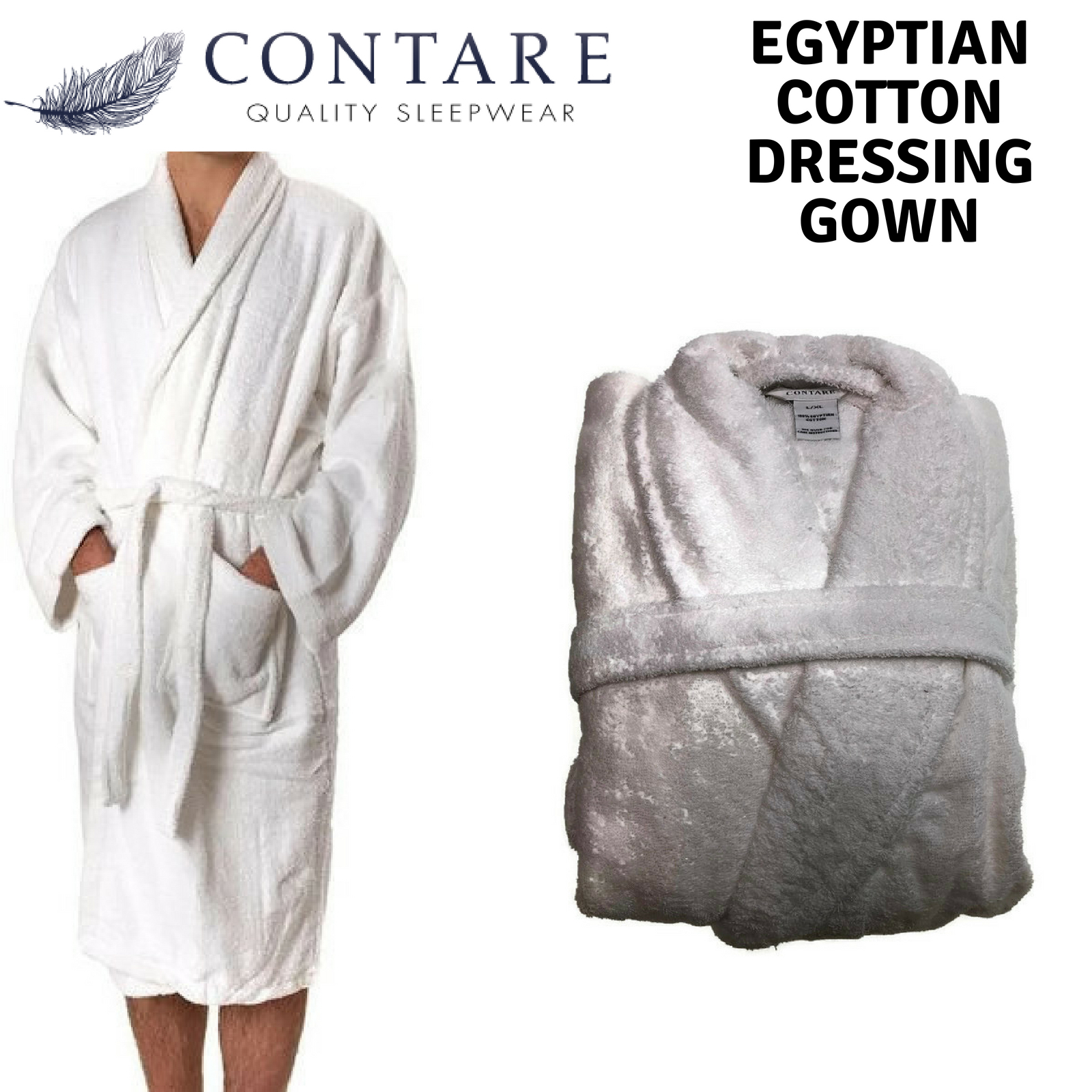 CONTARE 100% Egyptian Cotton Dressing Gown Bath Robe Terry Towelling ...