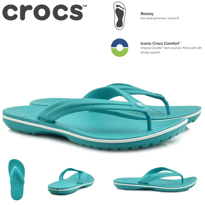 b454e27a681 Crocs Crocband Flip Flops Thongs - Tropical Teal White