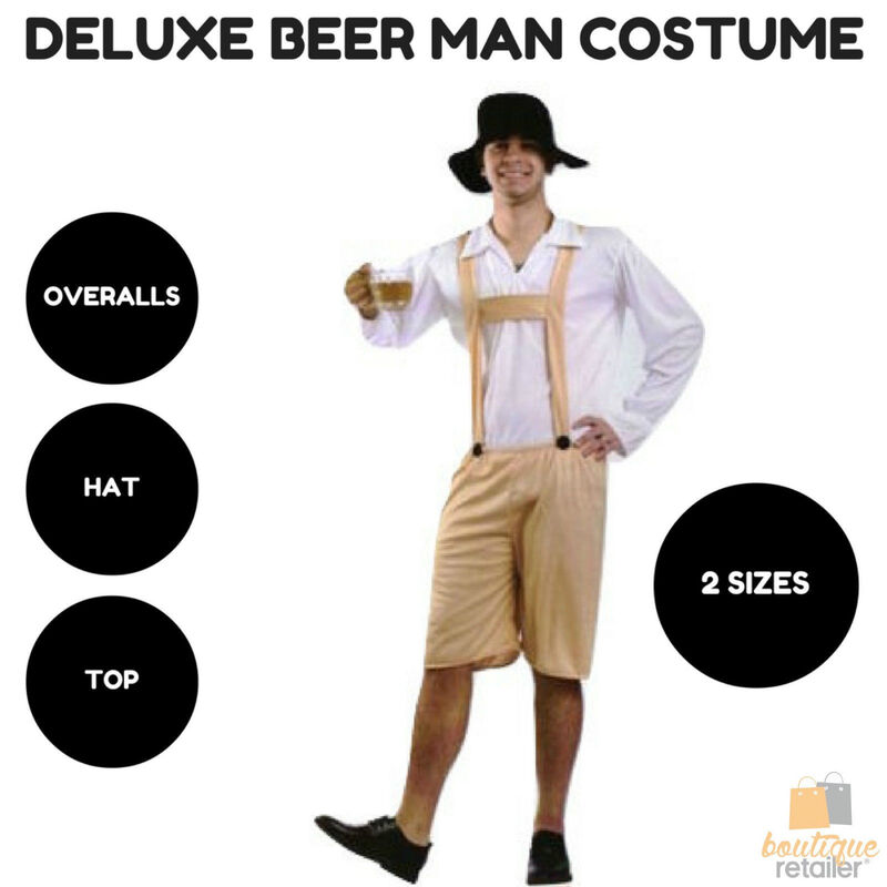 d8239869798 DELUXE BEER MAN COSTUME German Oktoberfest Lederhosen Men's Bavarian Party