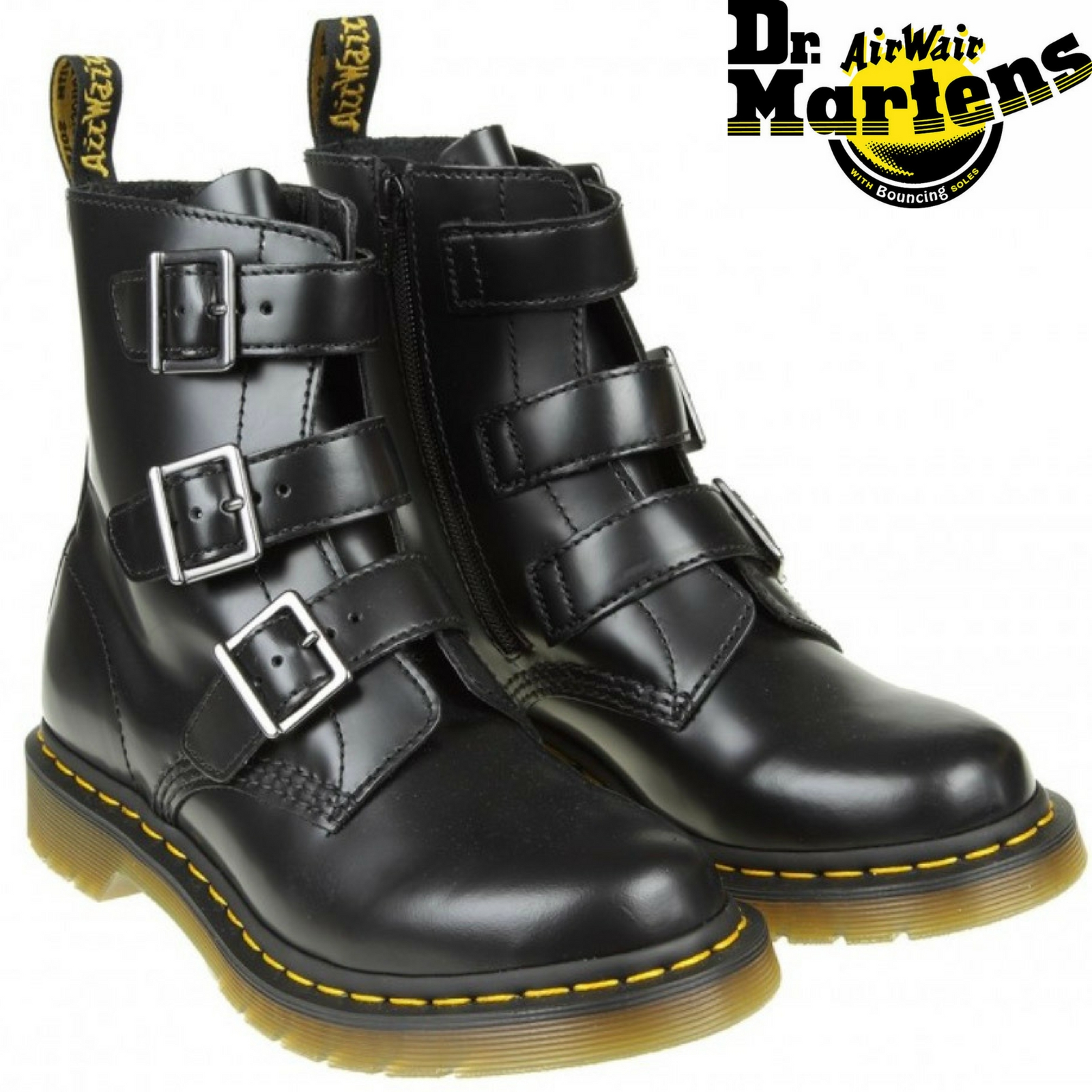 b80e650e0979 Dr. Martens Blake Boots with Buckles Ankle Shoes Genuine Leather 3 ...