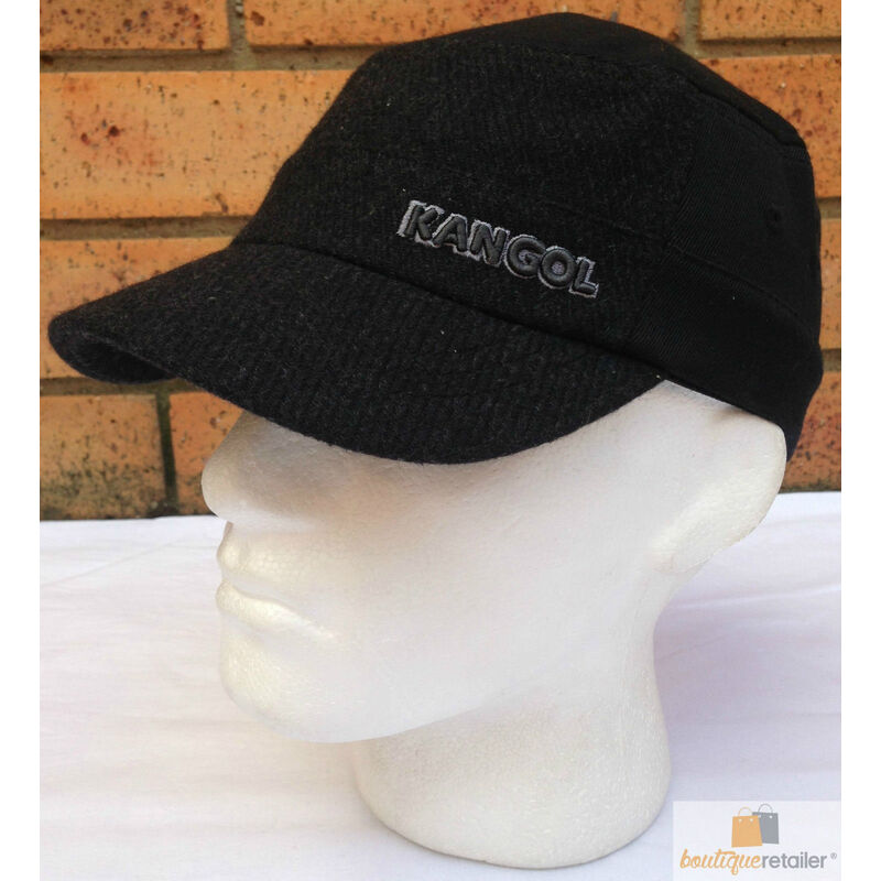 KANGOL Textured Wool Army Cap - BLACK FLEXFIT- K0471FA - MILITARY ... 12b4d708fa5