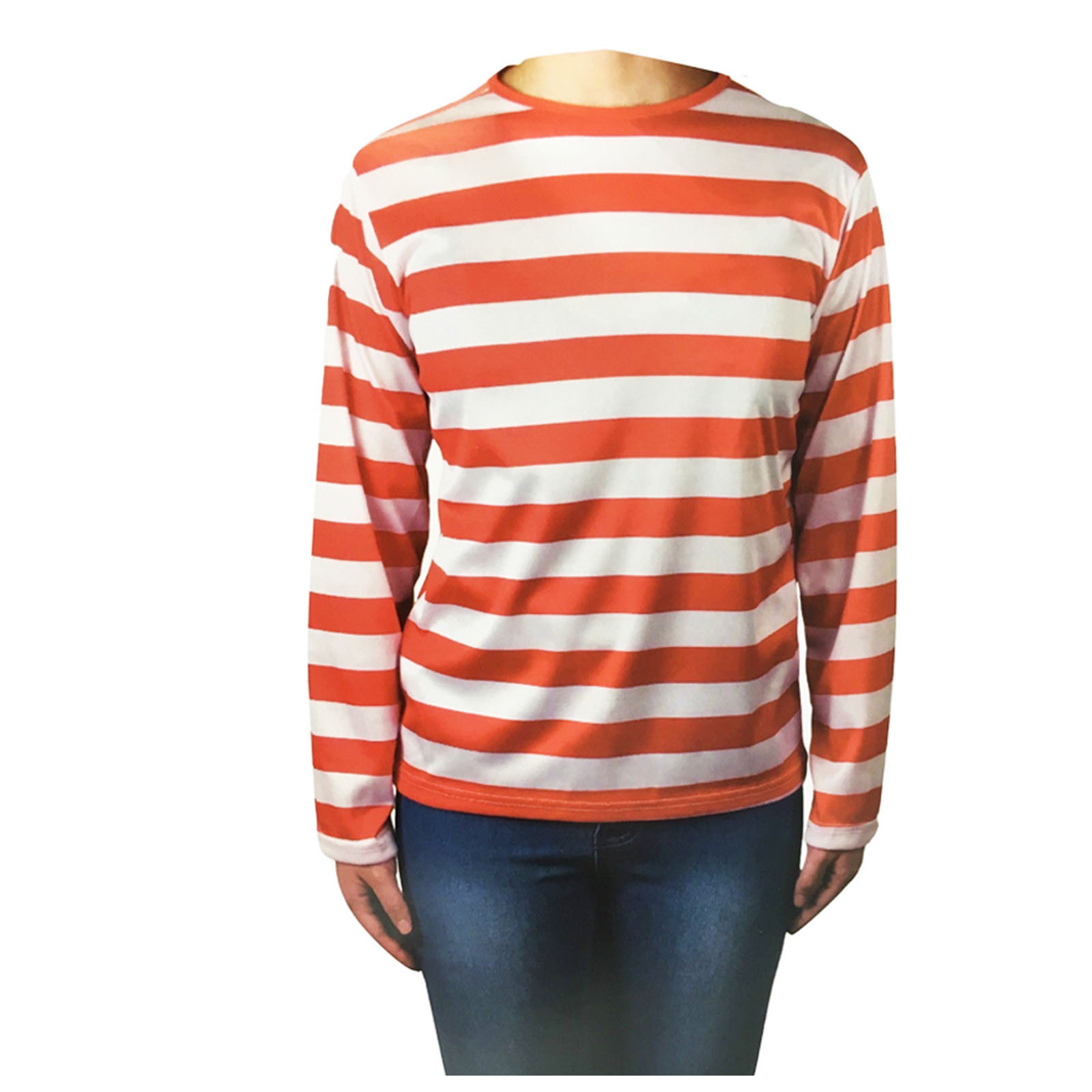 Red and White Striped Top Shirt Costume Party Dress Up Long Sleeve Stripe New