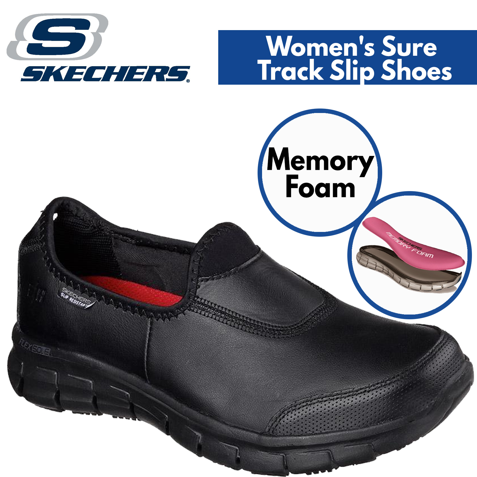 Skechers Women's Sure Track Slip Resistant Leather Work Shoes Memory Foam Black