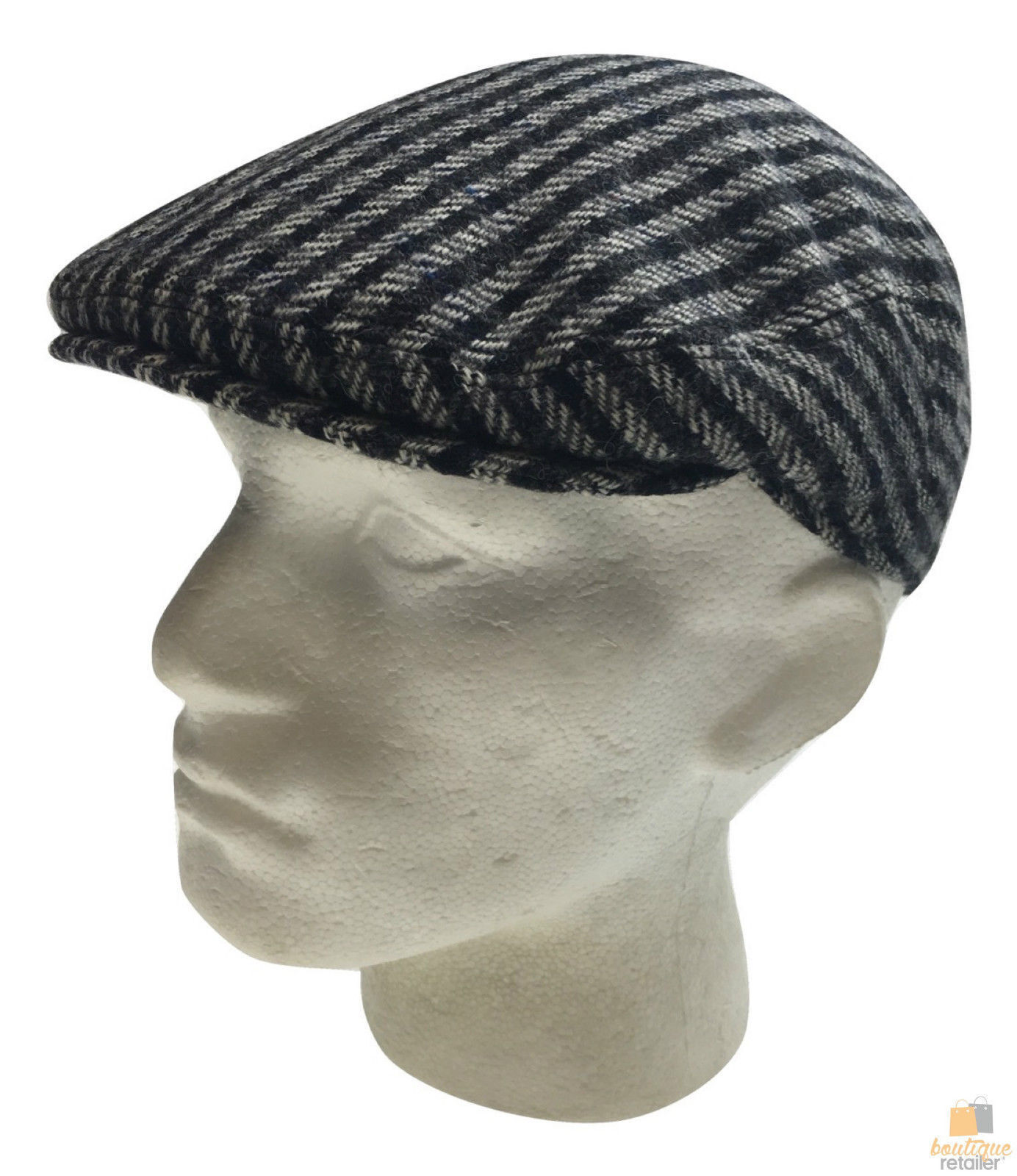 STRATFORD County Cap English Tweed Herringbone Wool Blend Hat  7d9fa6886912