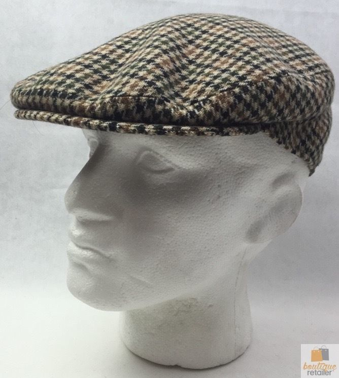 8d0bba3f7 STRATFORD English Tweed County Flat Cap Mens Driving Hat Wool MADE IN  ENGLAND
