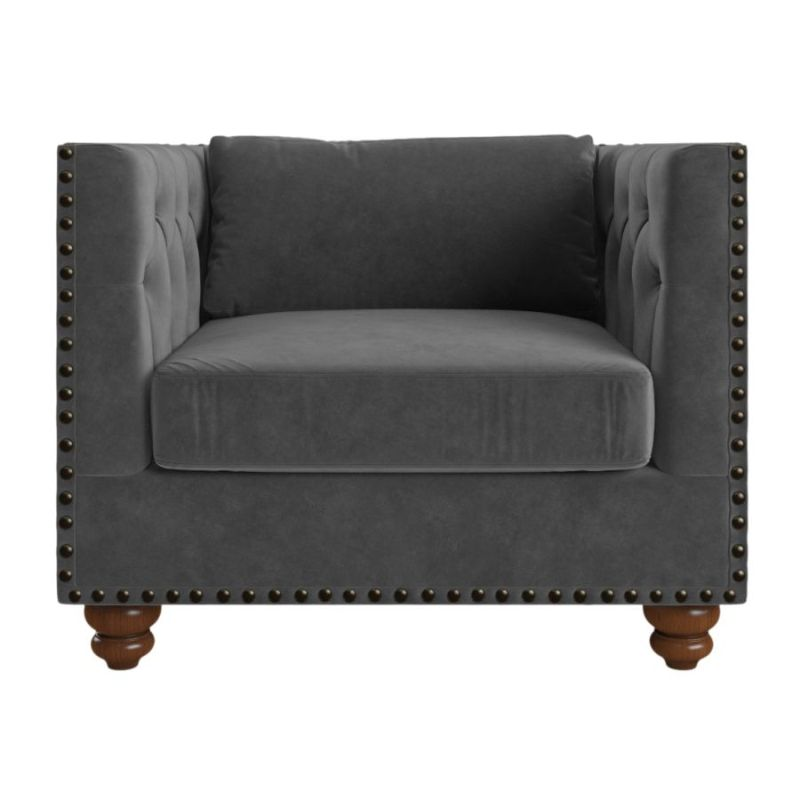 Florence Velvet Chesterfield Armchair in Cosmic Anthracite  sc 1 st  MyDeal : velvet chesterfield chair - Cheerinfomania.Com