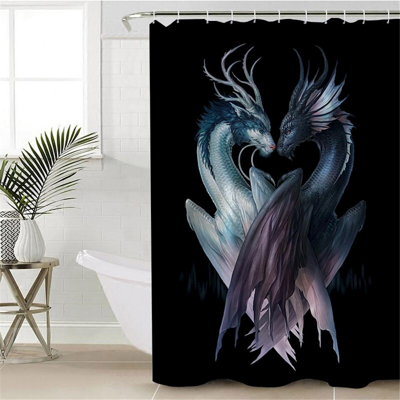 3d printed dragons black shower curtain buy shower curtains 607162