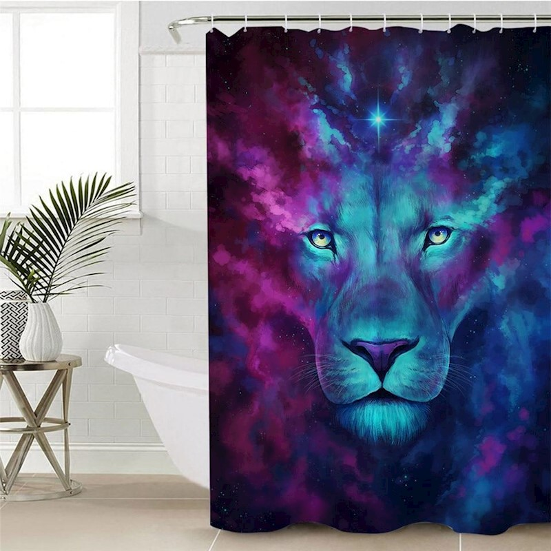 H M S Remaining 3D Psychedelic Lion Shower Curtain