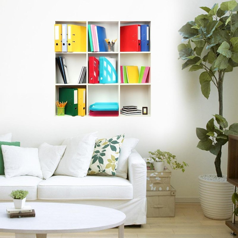 3d riding book shelf wall decals pag removable wall art grid