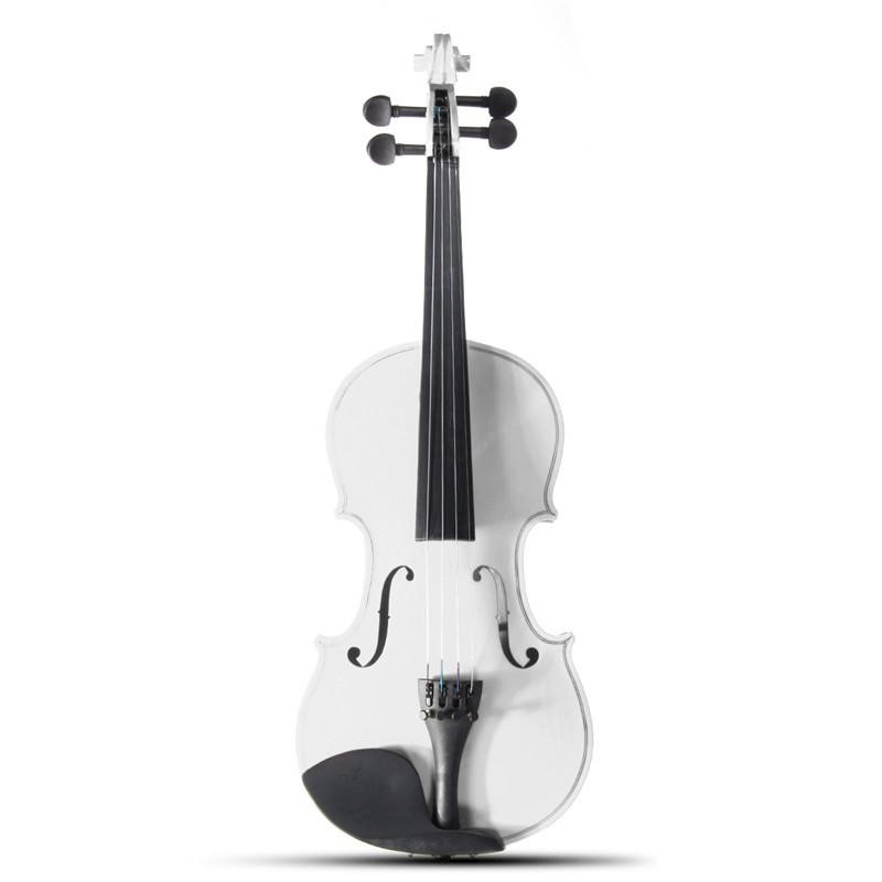 4//4 Size Natural Acoustic Violin Fiddle with Case Bow Rosin Pure White Color