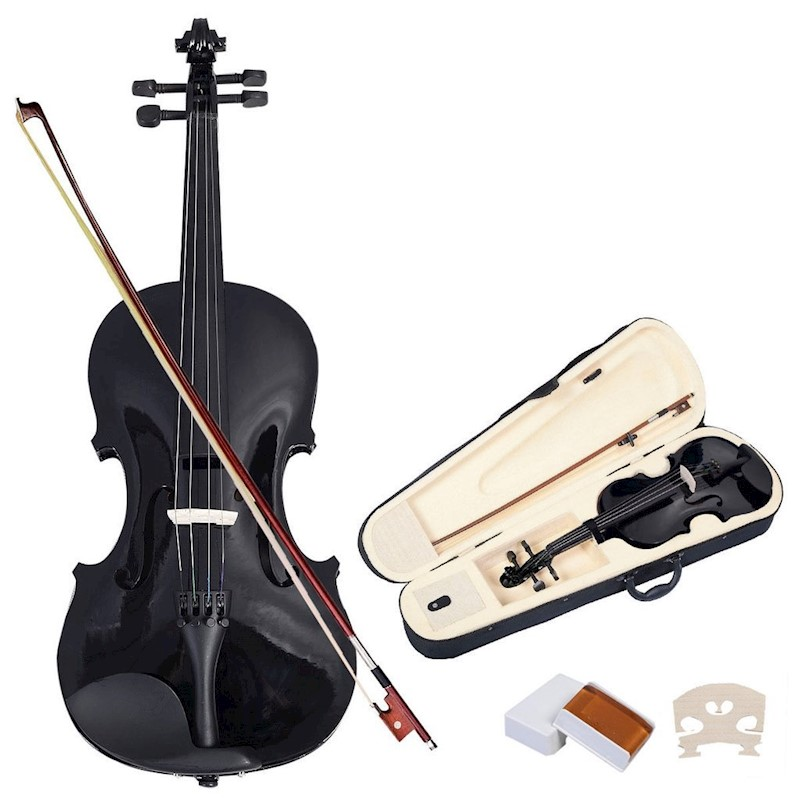 4//4 Full Size Basswood Natural Acoustic Violin Fiddle with Case Rosin Bow Multi