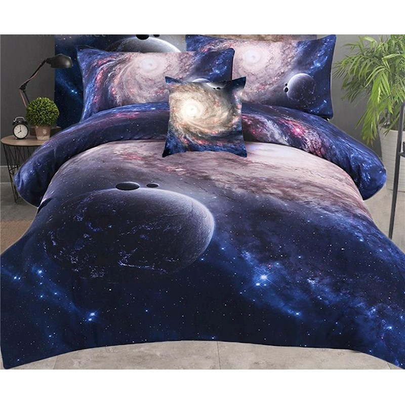Bed In A Bag Galaxy 3d Nebula Printed Soft Bed Set Buy Queen Quilt
