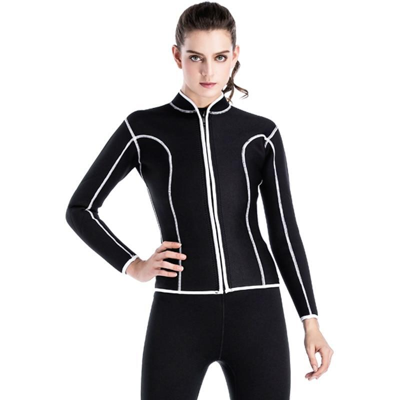 ab7b56080e969 h m s Remaining. Black Women Wetsuit Two piece Neoprene Swimsuit Dive
