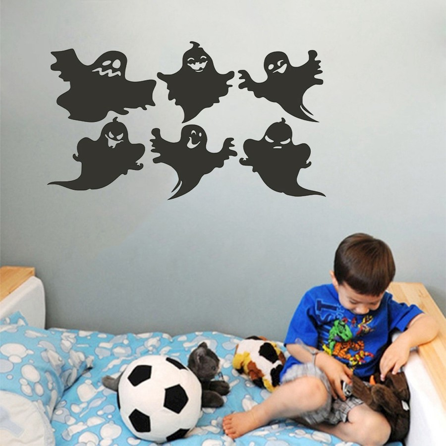 6 Pcs Variety Halloween Ghost Diy Wall Sticker Removable Wallpapers Circuit Board Tree Vinyl Art Graphic Stickers Decals 1 X