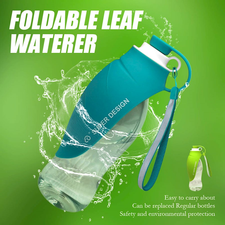 b47e135dee 650ml Sport Portable Leaf Pet Dog Water Bottle Expandable Silicone ...