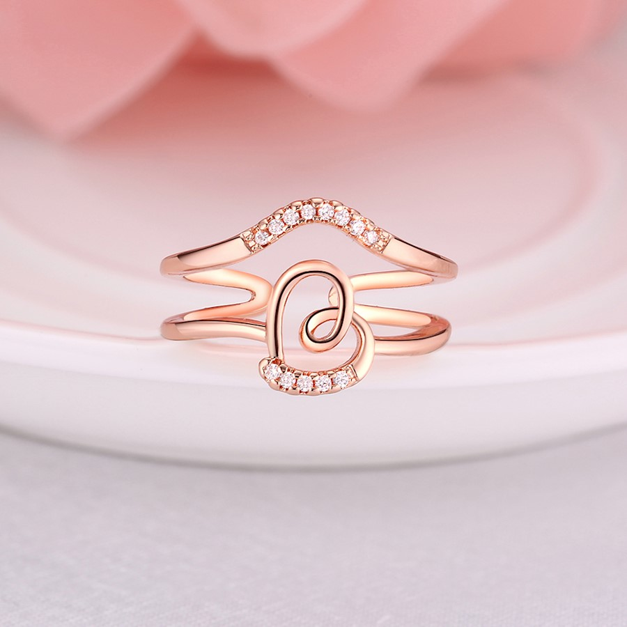 INALIS Trendy Rose Gold Plated Multilayer Heart-shaped Zircon Ring ...