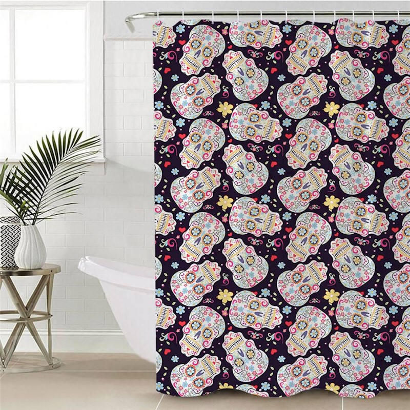H M S Remaining Floral Sugar Skull Shower Curtain