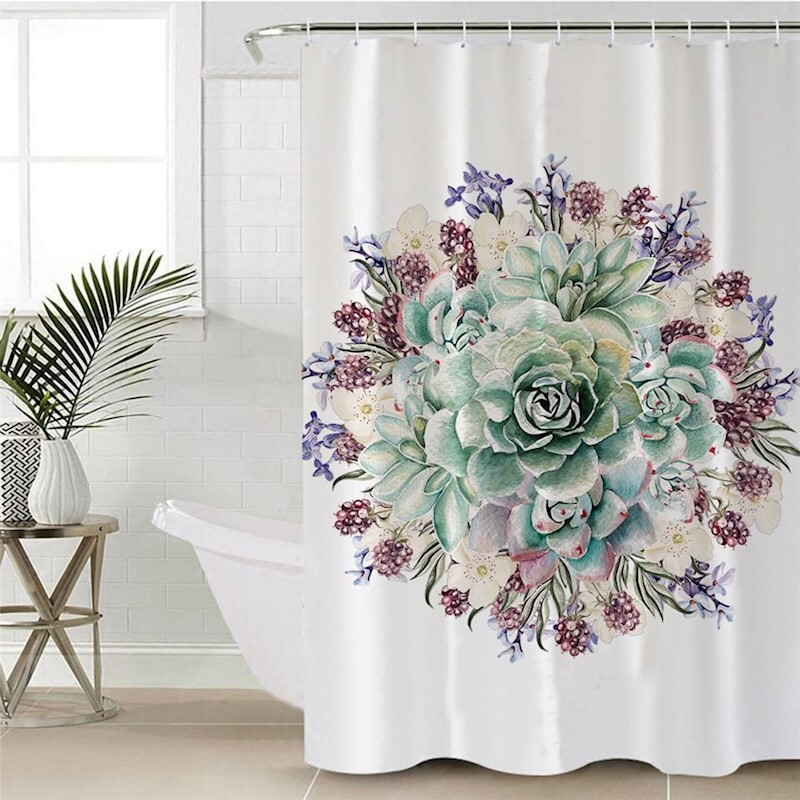 H M S Remaining Green Succulents Shower Curtain