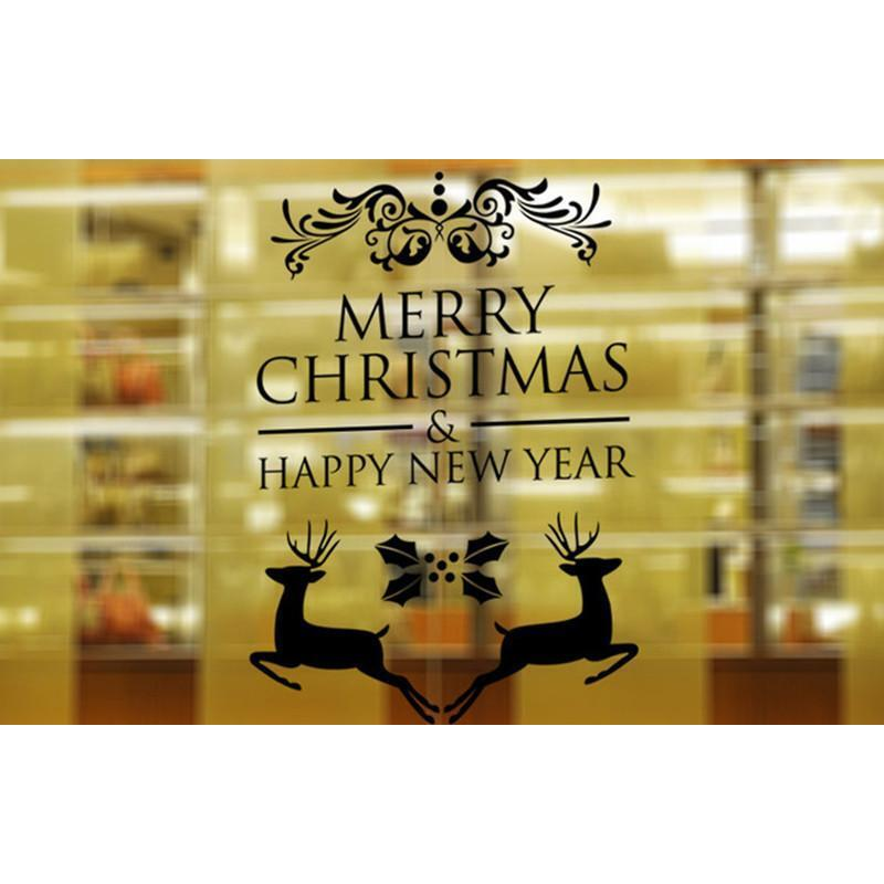 Merry Christmas & New Year Wall Sticker - Black | Buy Christmas ...