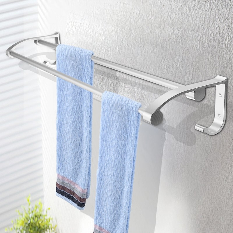 Stainless Steel Towel Rack Hook Wall Mounted Rail Towel Double Shelf