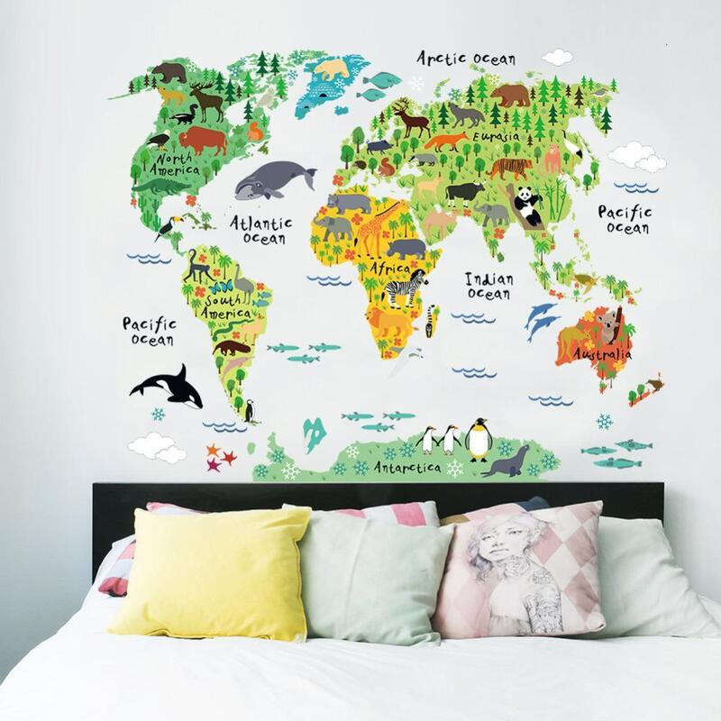 Vinyl animal world map wall sticker buy wall stickers vinyl animal world map wall sticker h m s remaining gumiabroncs Images