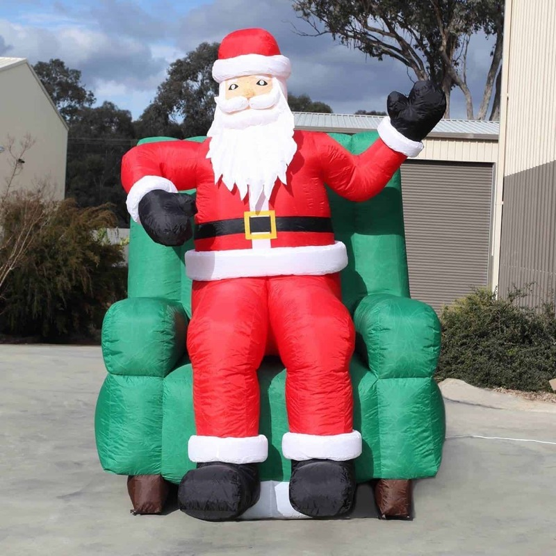 25m christmas santa in chair inflatable outdoor giant decoration
