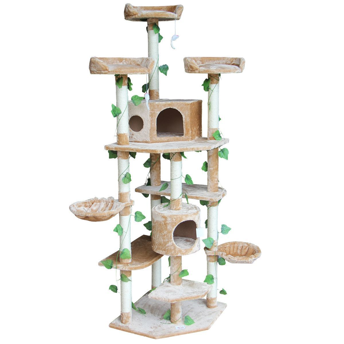 2.1M Multi-Level Cat Scratching Post Climbing Tree-Extra Large-Beige ...