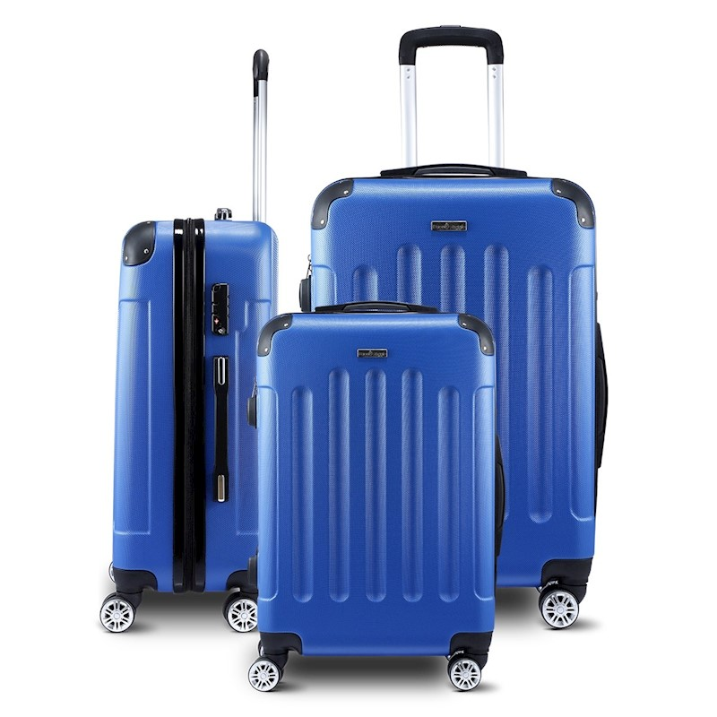 2fd7ac0b3 3 Piece Luggage Sets Hard Shell Lightweight Spinner Suitcase Trolley with  TSA Lock - Blue | Buy 3 Piece Sets - 363917