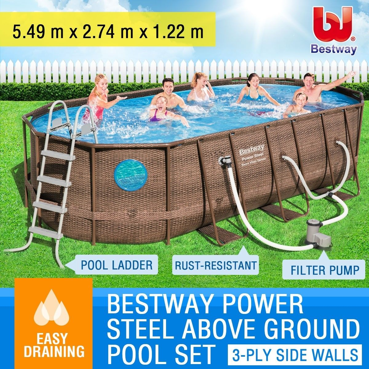 Bestway steel frame above ground swimming pool filter pump - Bestway steel frame swimming pool ...