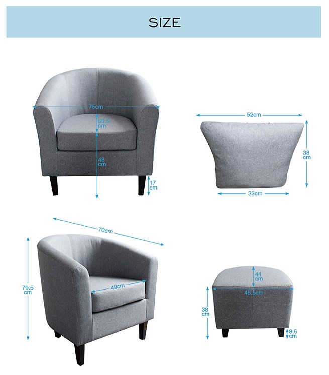 Ottomans Lifestyle Single Ottoman: Luxdream Tub Accent Chair Fabric Single Sofa Lounge Couch