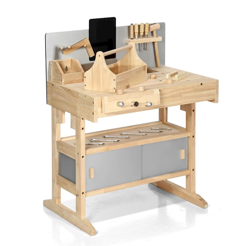 kids workbench wooden tool bench workbench toy workshop tool set with tool box 32pcs buy toy. Black Bedroom Furniture Sets. Home Design Ideas