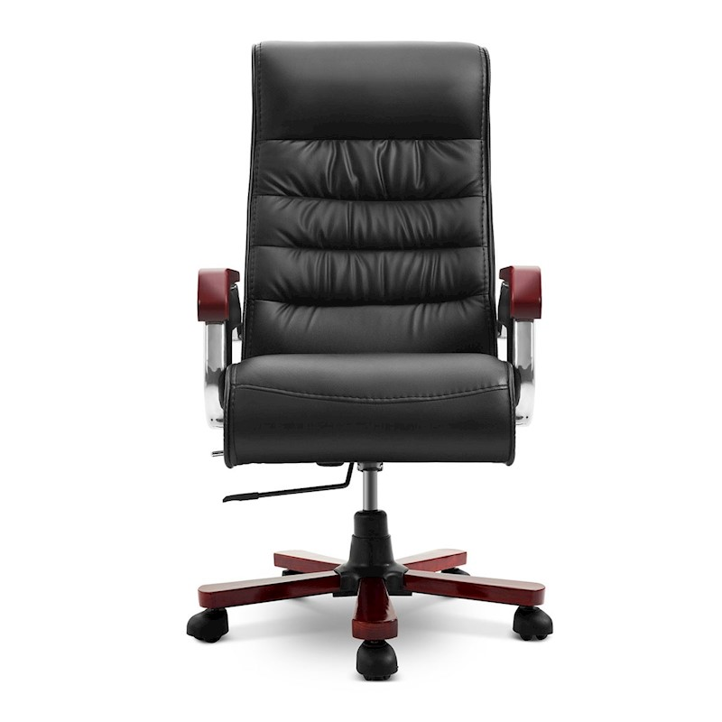 Executive PU Leather Wood Office Chair Computer High Back ...